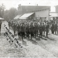 "Solders camped in Vallonia in 1912. Inscription says, ""Is my hat on straight, Vallonia, Ind., Oct. 16, 1912"" - from Jackson County Historical Society"