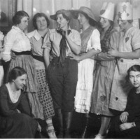 A group of 9 unidentified women. Some are in costumes. - from Elaine Allman, bw 4.14x2.37