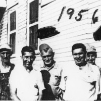 1956 employees of Bundy Brothers Milling Co., L-R Mr. Henson, Snooty Smith, Bo Robinson, Charles Schwein, Hershey Hatchee. From E.M. Smith.