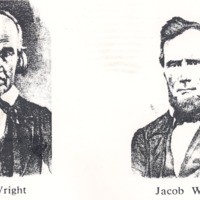 Pioneer Christian Church preachers John Wright and Jacob Wright. - from Fort Vallonia Museum, bw 849x530