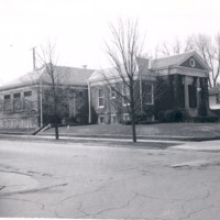 Seymour Library Corner of W. Second and N, Walnut St - from the Seymour Tribune, bw 3.73x2.89