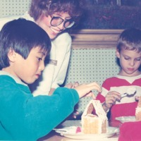 Eva Auleman teaching gingerbread house at library - from the Seymour Tribune, C 6.55x5.82