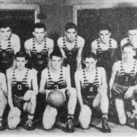Vallonia Basketball team in 1939-40. Photo from Edna Smith from the Banner Oct. 15, 1992. - from Doris Lee, bw 4.22x2.44