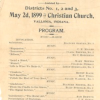 Vallonia Graded Schools - Commencement - 1899, program. - from Fort Vallonia Museum, bw 3.73x5.36