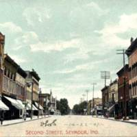 Seymour, Indiana: W 2nd E of Chestnut about 1907: J.S. Mills & Co. at left