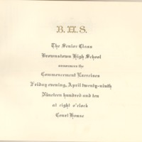 Brownstown High School April 29, 1910 Commencement announcement owned by Lawrence Doerr - from Jackson County Historical Society