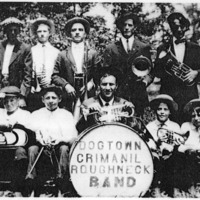Kurtz Band of 1913 - Dogtown Crimanil Roughneck Band , front L-R: Cook Kindred, Jack Spurgeon, Talton Wineingar, Hubert Sutton, Raymond Sutton; back L-R: Jay Kindred, Sassy Edwards, Luther Sutton, Gary Hanner, Ezra Sutton. - from Winfred (Bud) Cornett, bw 6.66x4.70