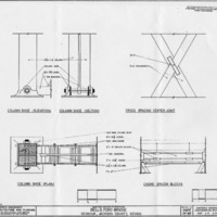 Bells Ford Bridge, Seymour, In, Column shoe elevation and section, cross bracing, center joint plan, column shoe plan and chord spacer blocks, drawn by Mike Boles