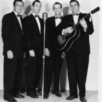 The Gospelaires Quartet consisting of Bud Cornett, Fred Perry, Harrel Forgey, and Earl Stillwell.  - from Winfred (Bud) Cornett,  bw 4.75x6.29