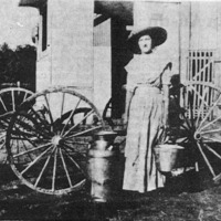 One of Crothersville's first milk routes driven by Bertha Blau (Kovener), photo from around 1915.