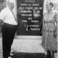Rev. and Mrs. Pedicord, minister of several Jackson Co. area churches including Freetown and Norman, IN. - from Winfred (Bud) Cornett,  bw 2.52x 3.02