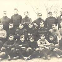 Merrill Montgomery is second from left in second row. Football team of Seymour High School 1909. - from Polly Schneck, color 5.14x3.00