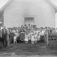Gossman Union Sunday School in 1916, Church was located in Vallonia on Brownstown Road - from Elaine Allman, bw 4.70x3.72