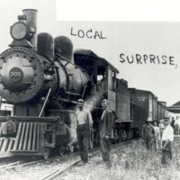 Surprise, Indiana: Railroad Station and Engine 309. - from George Polly, bw 6.5x4.53