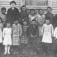 Tampico School 1918 - photo from Mrs. Jay Hall. Front L-R: Russel Brown, Elsie Morgan, Zelma Morgan, Pearl Killey, Esther Wolff, Paul Gregory, Lois Johnson, Martha Reynolds, Catherine Henderson, Shirley Gregory. 2nd row L-R: Mable Robinson, Lola Ballard,and Merideth Hunt, Mrs. Rose Waskom (teacher), Edna Ballard, Jennie Harrod, Florence Johnson, Bernice Henderson, Wayland Smith, Bryan Duncan, Orville Rucker. - from Doris Lee, bw 4.14x1.96