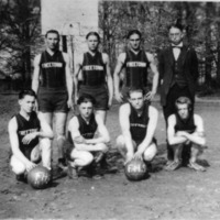 1925 Mens Basketball Team, Freetown High School, Freetown, IN, R-L: row 1: Loyd Spurgeon, Jr., Edgar Spurgeon, Wm. (Bill) Myers, and Earnest Spurgeon. Row 2 L-R: Merrill Huber, John Lucas, George Bebout, and coach Ralph Denny. - from Freida Duchaine, bw 4.77x3.39