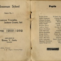 Gossman School in Brownstown, a German school, from the 1905-1906 school term, graduation program - from Jackson County Historical Society