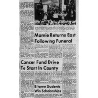 Mamie Eisenhower returns to Washington, D.C. following her husband's funeral. The train stops briefly in Brownstown.   Please scroll down. There is more than one page to this article. - Article from the Seymour Daily Tribune on April 3, 1969