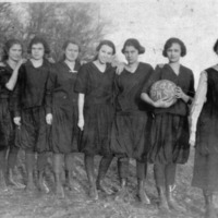 1925 Girls Basketball Team, The Stars, Freetown High School, Freetown, IN. L-R: Gladys Sprague, Helen Sprague (Fleetwood), Florence Owens, Elsie Lucas, Lois Smith, Dana Hanner, Edna Rotert (Myers), and Ida Denny - coach. - from Freide Duchaine, bw 4.79x3.13