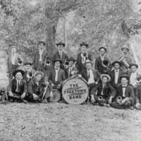 Freetown Band. Back row: 5th Clark Lucas, 6th Albert Delong. Middle Row: Ralph Lucas. Front: 1. ?, 2. Clyde Wray Forgey, 3. Charles (Whig) Tinch, 4. Bill Cornett, 5. Red Forgey, 6. ? - from Winfred (Bud) Cornett,  bw 7.73x10.24