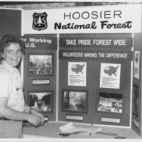 Hoosier National Forest display and lady, - from the Brownstown Banner, 6.69 x 4.51, bw