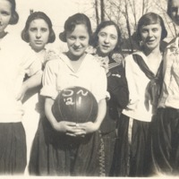 Senior basketball team of 1921. - from Florence  McClure, bw 4.12x2.36