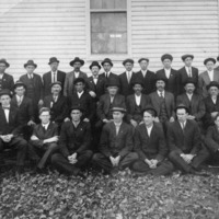 Vallonia Christian Church, 1920. In back from L - John Albertson, George Montel, Bill Schooly, Henry McHargue, Johnny Miller, Cresent Miller, Raymond Geyer, Bill Crowe, Clev Miller, Stanley Watts, Henry Stotz, Aaron Hattabaugh, Marshall Byarly, (no first name) Brown, - from Fort Vallonia Museum,