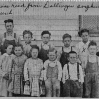 Grassy Fork School, 1920, Fodderville across the road from Dallinger sorghum mill east of Russell Chapel Church - from Doris Lee, 7 x 3, bw
