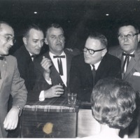 American Legion Post officers, 1965. Kenneth Knoke, Don Swigget, Albert Lucas, Orin (Red) Nowling, Harold (Spig) Chambers - from Sara Marling Lucas, bw 3.75 x 2.91
