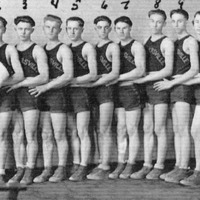 1924 Crothersville Basketball Team. Coach: Earl Chambers. 1. John Cutshaw, 2. Dick Daniels, 3. Ephriam Cravens, 4. Emerson Mosley, 5. Gerald Garriott, 6. Bill Cutshaw, 7. Curtis Lewis, 8. Walter Cravens, 9. Roonie Cravens, 10. Morse (Noah) Garriott. - from Jeanette Stout, 8 1/2 x 11, bw