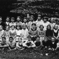 Freetown School in 1921, Front L-R: Keith McKinney, James Harry Spurgeon, Charles Edward Hayes, Carl Sprague, Robert McKain, Robert Denny, Donald Thompson, Eddie Dawson, Donavon Tinch, Melvin Hanner. 2nd Row L-R: Ida Smith, Maxine Eller, Genevieve Akers, Mildred Bell, Margaret Sprague, Georgia Tabor, Jessie Eller, Hazel Bell, Marie Zikes, Susie Zikes, Ruby Reed, Mildred Forgey. 3rd Row L-R: Clyde Owens, Lebert Owens, ?, Homer Forgey, Marshall Tabor, May White, Olive Lucas, Mildred Callahan, Lucy Akers, Mildred Dewey, Thelma Cornett. -  from Winfred (Bud) Cornett, bw 5.33x3.33