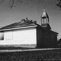 Old Houston High School, Houston, IN. - from Winfred (Bud) Cornett, bw 5.95x3.87