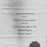 Cover of Annual Commencement of Driftwood Twp. Schools, May 9, 1911, Vallonia, IN. From Audra and Mildred Humphrey. - from Fort Vallonia Museum, bw 5.22x8.42