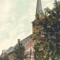 German Lutheran Church and School in Seymour, IN. Photo taken in 1913 by The American News Co., of New York, Leipzig, Berlin, Dresden, Germany - from Ida and Kenny Wehmiller, C-3.39x5.44