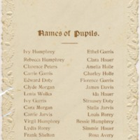 Names of pupils, 1900-1901, Cedar Spring School District # 5, Driftwood Twp., Jackson Co., IN. From Audra and Mildred Humphrey. - from Fort Vallonia Museum, 3.42x5.49 bw