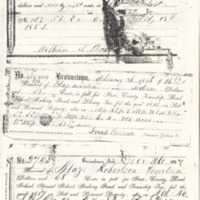 Tax receipts from the 1850s and 1869. Blaze Robertson is named.