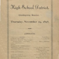 The High School Patriot - Thanksgiving Number. Thursday, November 24, 1898