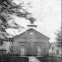 Original Crothersville Methodist Church, Crothersville, IN. Picture taken in July 1908. Note the 2 front doors - one for men and one for women. - from Jeanette Stout, 4 x 4 3/4, bw