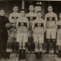 1912 Crothersville High School Basketball Team. Front row: Coach Allee, Lester Williams, David Lewis, and Alvin Barringer. Back Row: Horace Dorsey, unkown, and Haskel Gillaspy. Photo from Joe DeWitt of Austin. - from Doris Dorsey, 5 x 3 1/4, bw