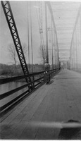 Old White River Bridge north of Seymour, summer of 1917. The person in the picture is Eva Mahorney who died in Oct. 1918 in the flu epidemic. - from Elaine Allman, bw 2.44x3.98
