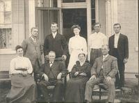 Kasting family group 1906, Standing L-R: William, George, Kathryn Brackemyre, Ernest, and Louis, Seated L-R: Deana Kasting Pfaffenberger, Fredrick Henry and Doris Borcherding Kasting, John.