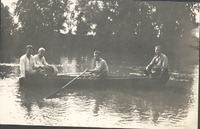 Spring Glen Farms, Don Bollinger on far left, Harlen Montgomery rowing boat north east on Redding Road - from Polly Schneck, bw 3.0 x 4.0