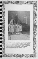 Scene after Sunday School is over,  Vallonia Methodist Church Messenger of 1950 - from Fort Vallonia Museum, 5.29x8.19 bw