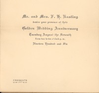Invitation to the 50th Wedding Anniversary in 1906 of Fredrick and Doris Kasting.