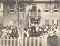 Kasting home at golden wedding anniversary 8-1906 of Frederick Henry and Doris Borcherding Kasting and the wedding day of George and Martha Kasting. Home was on the southwest side of Freeman Field.