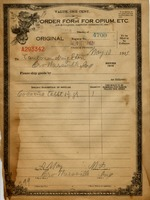 Order form for opium, etc. - Taulman Drug donated by Robert and Hyla Cartwright of Crothersville - from Jackson County Historical Society